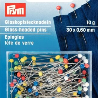 Glasknappnålar med färgadehuvuden